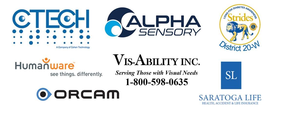 logos for C Tech, Alpha Sensory, Humanware, vis-ability, Orcam, Lions International
